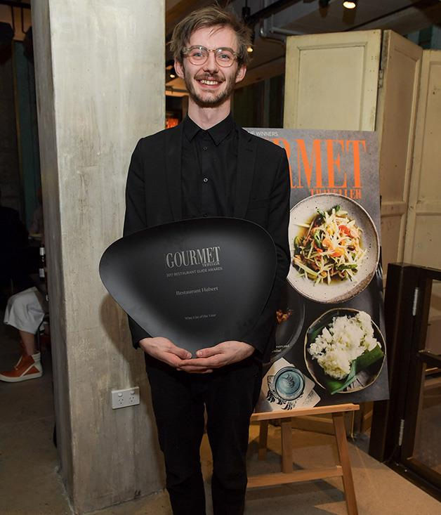 **** Sommelier Andy Tyson accepts Restaurant Hubert's award for Wine List of the Year