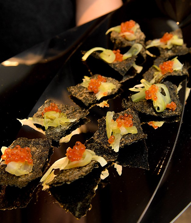 **** Cured Petuna ocean trout roe on nori crackers by chef Nic Wong from Cho Cho San