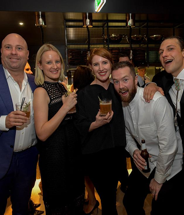**** From l-r; Hubert's Jason Scott, Dan Pepperell and Anton Forte with _Gourmet Traveller's _ Sophie McComas and Maggie Scardifield