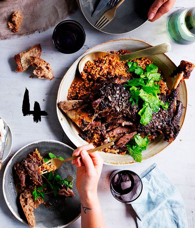 **Eight-hour lamb shoulder with Israeli couscous and labne**