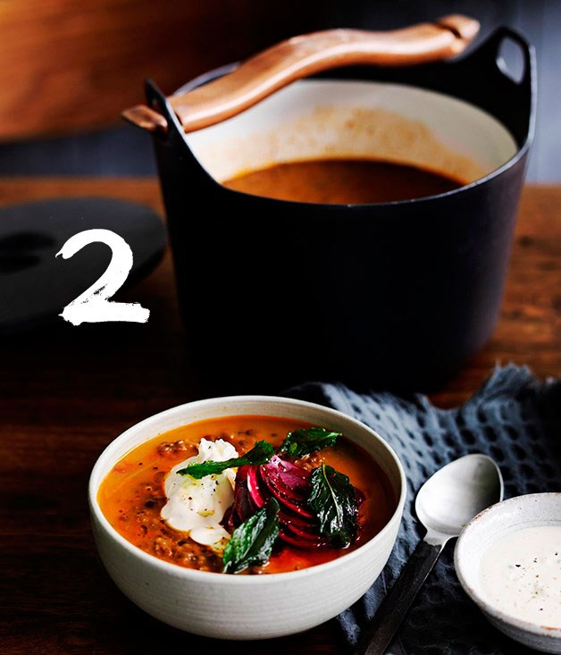 **Persian red lentil soup with tahini, beetroot and fried mint**