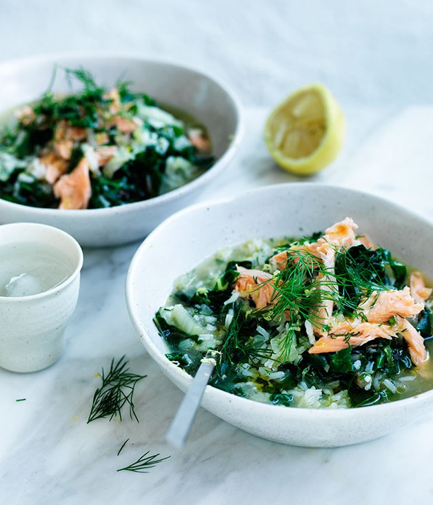 Silverbeet soup with rice, lemon and smoked trout