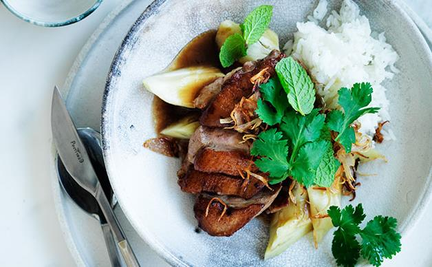 Duck with steamed eggplant and tamarind