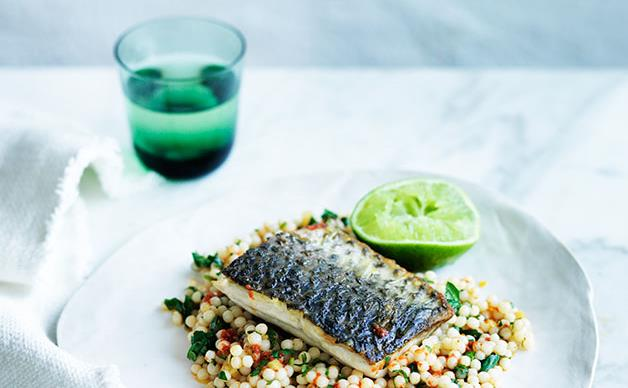 Sea mullet with harissa, preserved lemon and pearl couscous