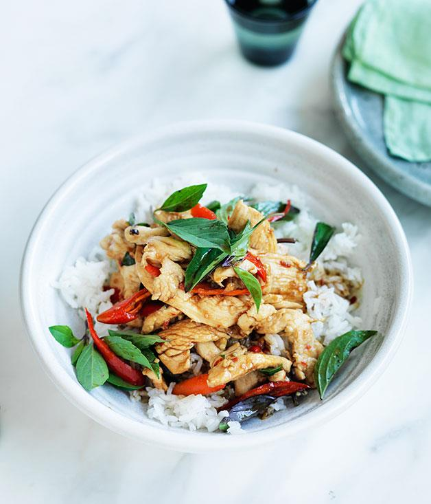 "**[Chicken stir-fried with holy basil and chilli](http://www.gourmettraveller.com.au/recipes/fast-recipes/chicken-stir-fried-with-holy-basil-and-chilli-13750|target=""_blank"")**"