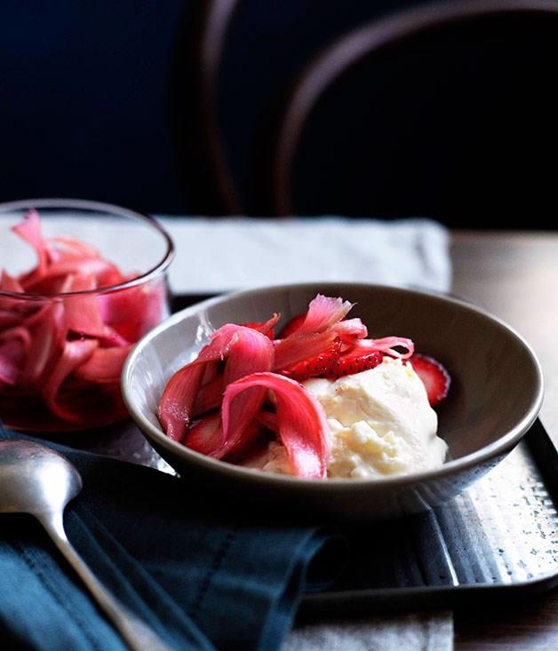 """[**Cold rice pudding with rhubarb**](https://www.gourmettraveller.com.au/recipes/browse-all/cold-rice-pudding-with-rhubarb-10687