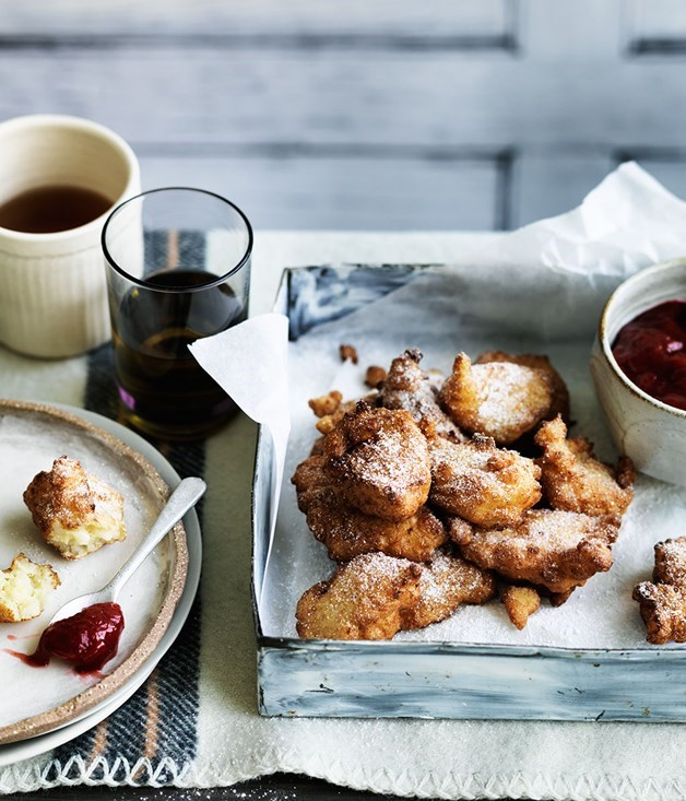 **Rice pudding fritters with rhubarb and winter strawberry jam**