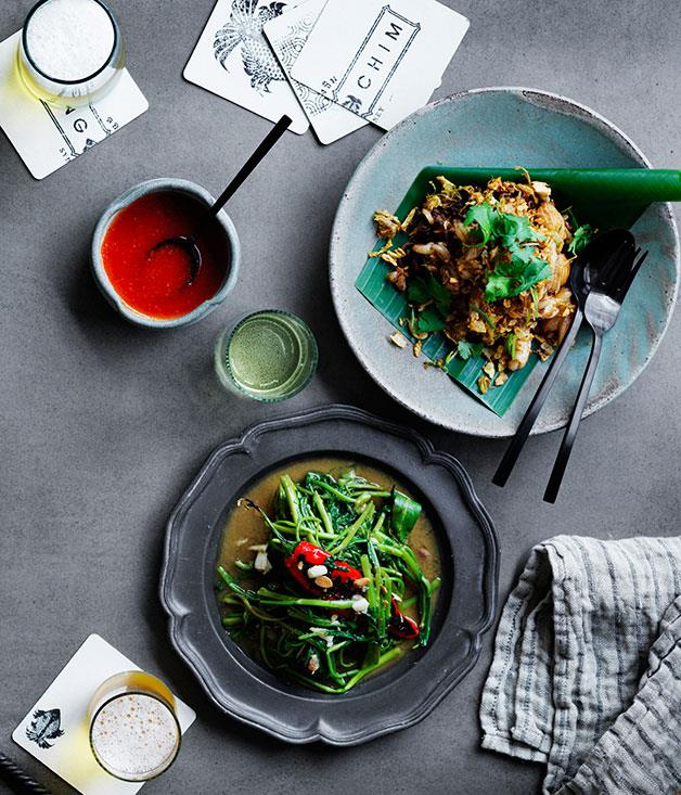"[David Thompson's stir-fried Siamese watercress](http://www.gourmettraveller.com.au/recipes/chefs-recipes/david-thompsons-stir-fried-siamese-watercress-8491|target=""_blank"")"