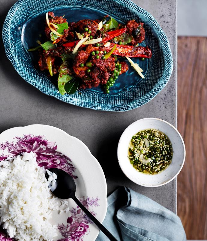 "**[David Thompson's chicken stir-fried with red curry, green peppercorns and holy basil](http://www.gourmettraveller.com.au/recipes/chefs-recipes/david-thompsons-chicken-stir-fried-with-red-curry-green-peppercorns-and-holy-basil-8479|target=""_blank"")**"
