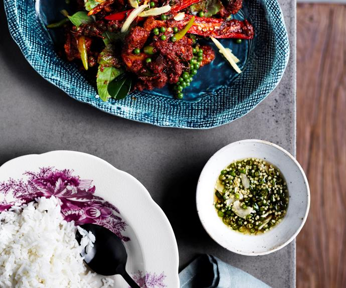 David Thompson's chicken stir-fried with red curry, green peppercorns and holy basil