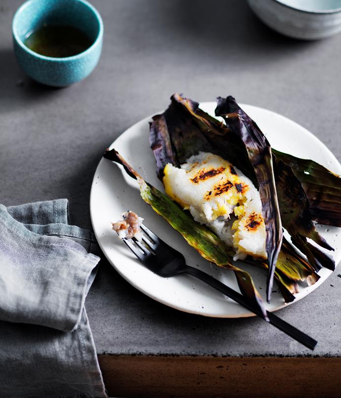 """[David Thompson's grilled sticky rice with banana paste](http://www.gourmettraveller.com.au/recipes/chefs-recipes/david-thompsons-grilled-sticky-rice-with-banana-paste-8481