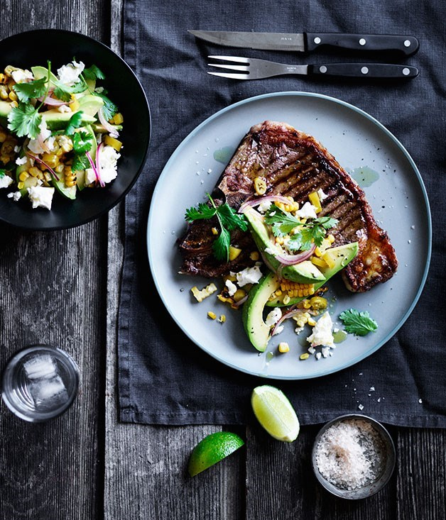 **T-bones with pickled chilli, corn and avocado**