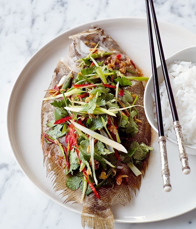 **Steamed flounder with shallot and chilli dressing**
