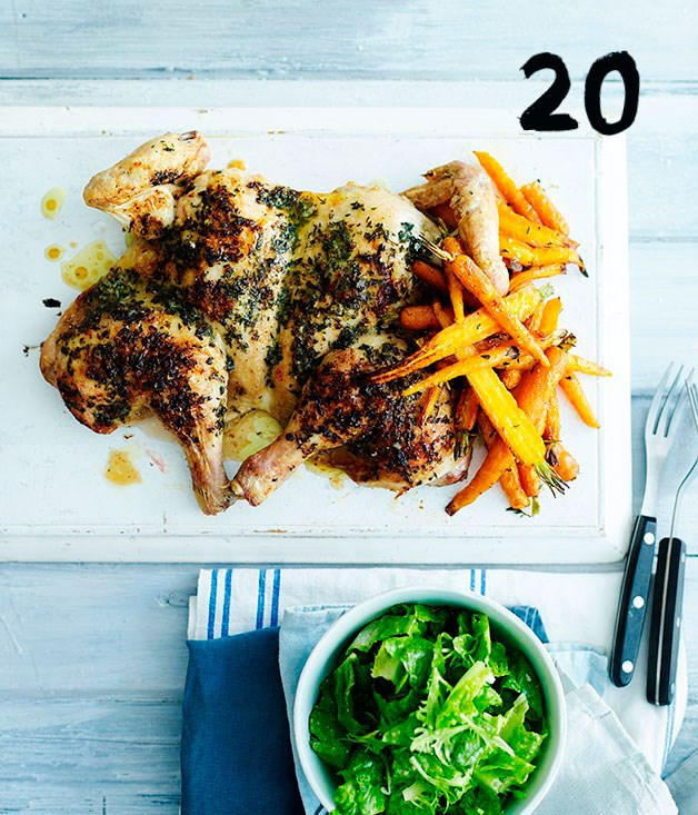 **Roast chicken with tarragon butter and dutch carrots**