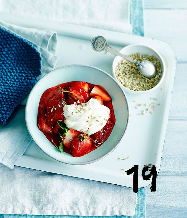 """[**Roast strawberries with crème fraîche and candied fennel seeds**](https://www.gourmettraveller.com.au/recipes/fast-recipes/roast-strawberries-with-creme-fraiche-and-candied-fennel-seeds-13648