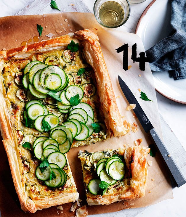 """[**Zucchini and Gruyère galette**](https://www.gourmettraveller.com.au/recipes/browse-all/zucchini-and-gruyere-galette-12083