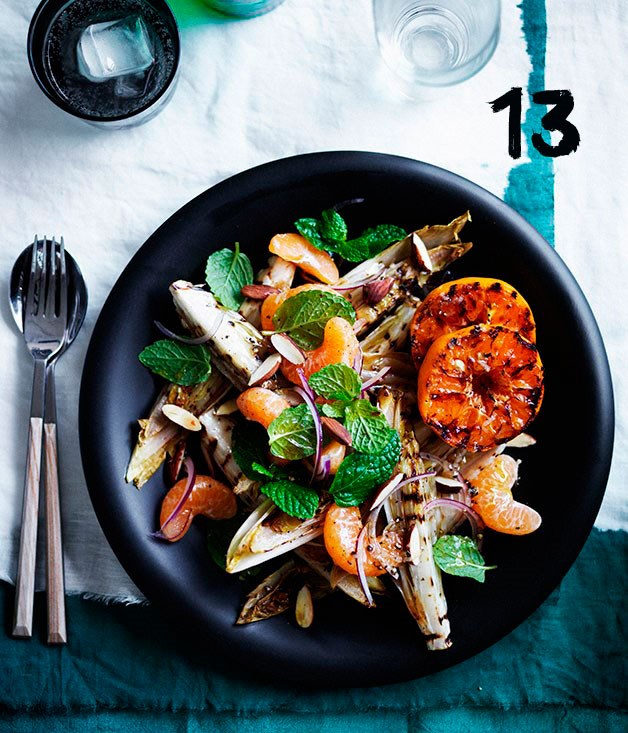 """[**Grilled witlof, mint and almond salad with blackened mandarin**](https://www.gourmettraveller.com.au/recipes/browse-all/grilled-witlof-mint-and-almond-salad-with-blackened-mandarin-12335