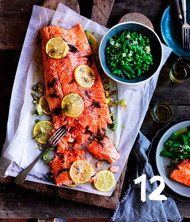 **Slow-cooked ocean trout with peas, and meyer lemon and fennel salsa**