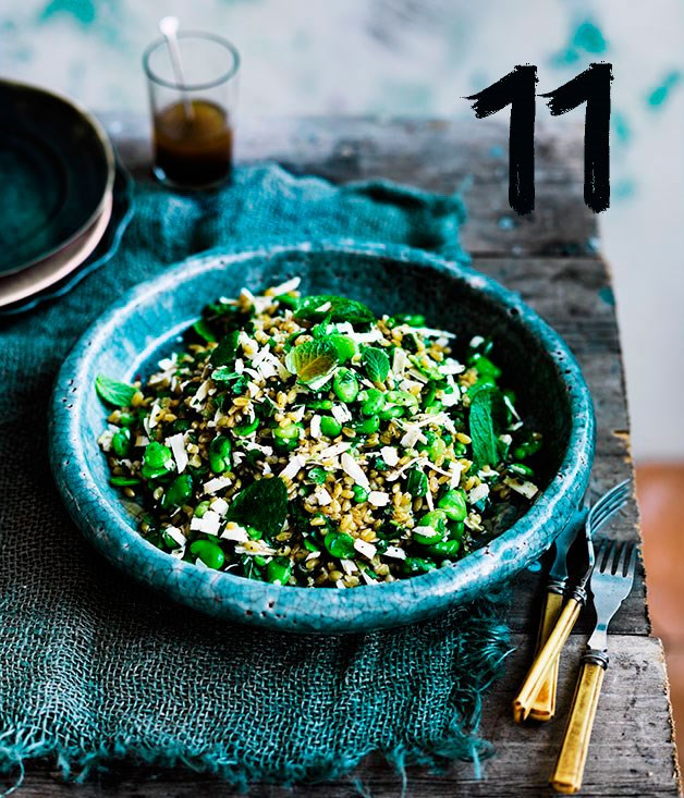 """[**Farro with broad beans, ricotta salata, mint and lovage**](https://www.gourmettraveller.com.au/recipes/chefs-recipes/farro-with-broad-beans-ricotta-salata-mint-and-lovage-8350
