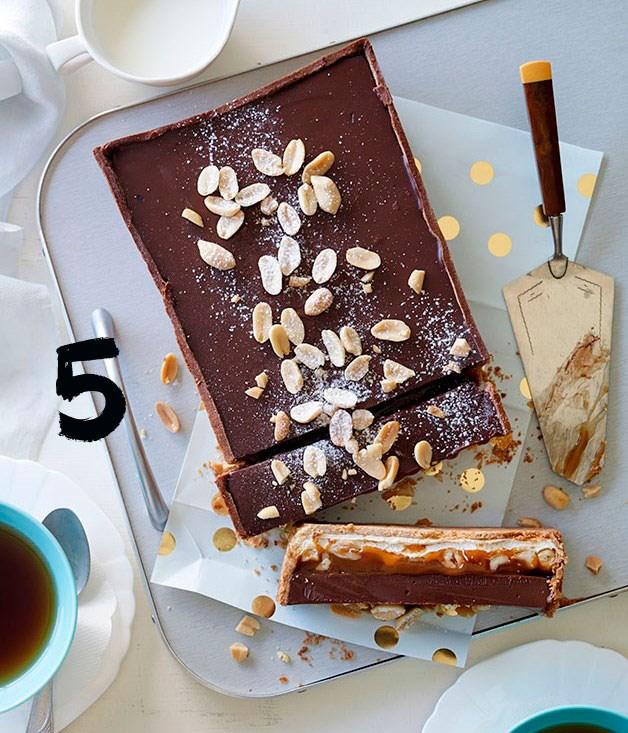 **Nougat, salted peanut caramel and milk chocolate tart**