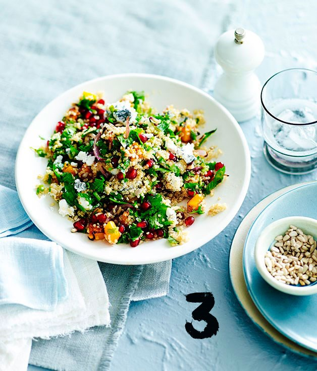 """[**Quinoa salad with pomegranate, pumpkin and ashed goat's cheese**](https://www.gourmettraveller.com.au/recipes/fast-recipes/quinoa-salad-with-pomegranate-pumpkin-and-ashed-goats-cheese-13471