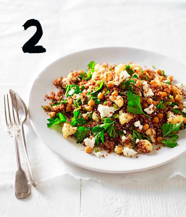 "[**Warm roast cauliflower, chickpea and quinoa salad**](https://www.gourmettraveller.com.au/recipes/fast-recipes/warm-roast-cauliflower-chickpea-and-quinoa-salad-13204|target=""_blank"")"