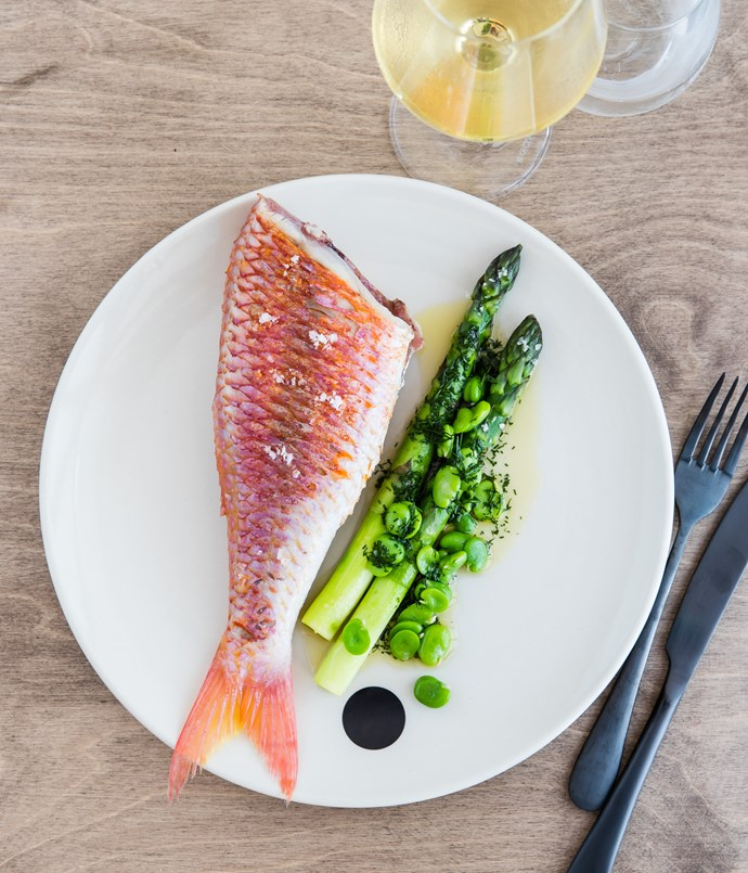 "**Shark Bay red mullet with asparagus, broad beans and fennel** ""This dish is a good example of how the menu will change depending on the season. We bone the red mullet and cook it in a pan until the skin is crisp. It's served whole, but it's easy to eat because we've taken out the bones, and we pair it with really fat new-season asparagus, broad beans and a fennel vinaigrette[](https://www.google.com.au/search?biw=1524&bih=869&q=vinaigrette&spell=1&sa=X&ved=0ahUKEwjFherCh-3OAhUBjJQKHYiRAqcQvwUIGCgA)."""