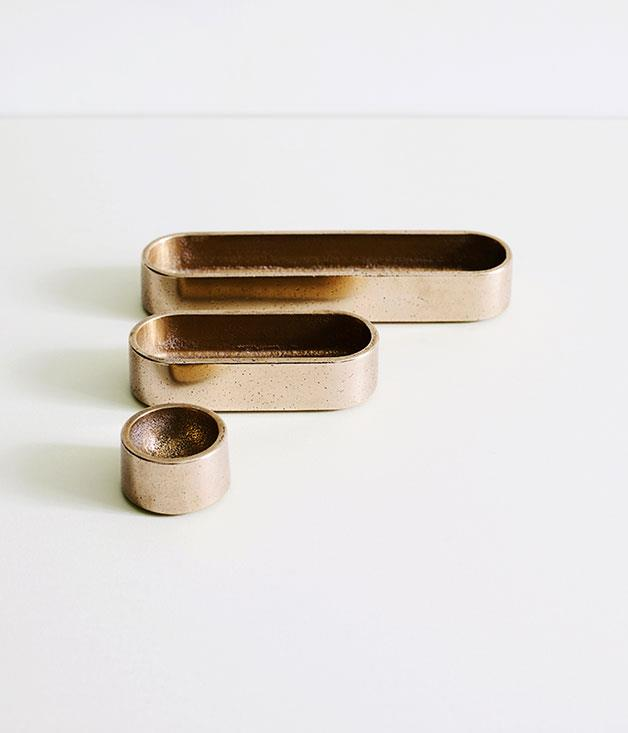 **Henry Wilson stack trays** Whether they're used for salt, pepper or paperclips, Henry Wilson's Stack Trays - in solid gunmetal bronze or aluminium - are gold class. _From $180 for three, [henrywilson.com.au](http://henrywilson.com.au/)_