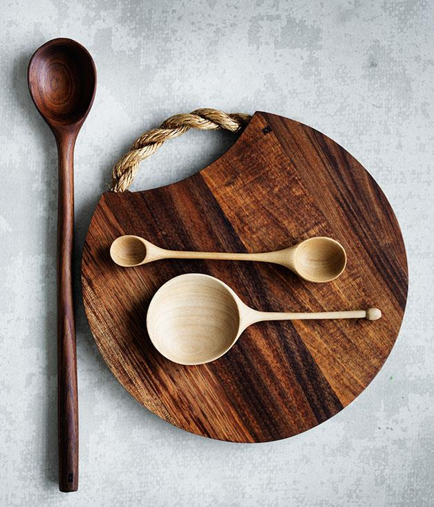 **Kara Rosenlund chopping board** The KR Kitchen Collection is the latest project from photographer, author and stylist Kara Rosenlund. The first range, designed in Sydney and made by hand by a woodworker in Brisbane, sees double-edged spoons and chopping boards carved from Tasmanian blackwood next to hand-knitted cashmere and Australian merino tea-cosies. _From $65, [shop.kararosenlund.com](http://shop.kararosenlund.com/latest-collection/)_