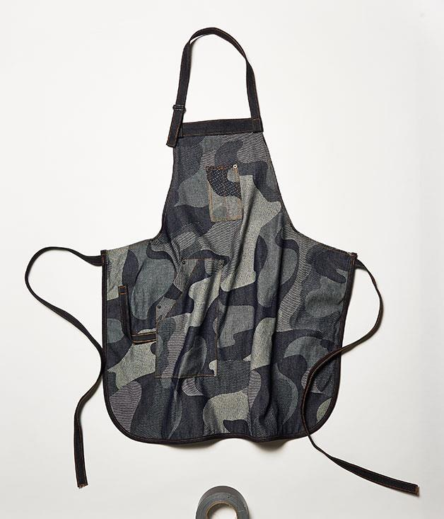 **Worktones apron** Add a touch of hospitality sheen to the home kitchen - staff at Sydney's Reuben Hills, Ruby's Diner, and Bar Brosé wear ex-Vanishing Elephant designer Huw Bennett's bespoke aprons, made from indigo-dyed and repurposed canvas and upcycled cotton and Japanese denim (the example pictured here is the Camo and Dark Raw apron). _$100 each, [worktones.com](https://www.worktones.com/)_
