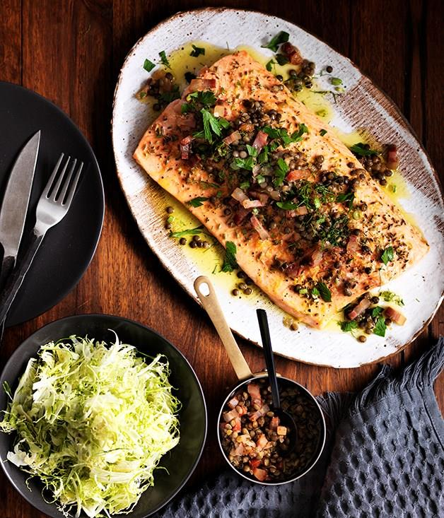 **Roast trout with warm green lentil and bacon dressing**