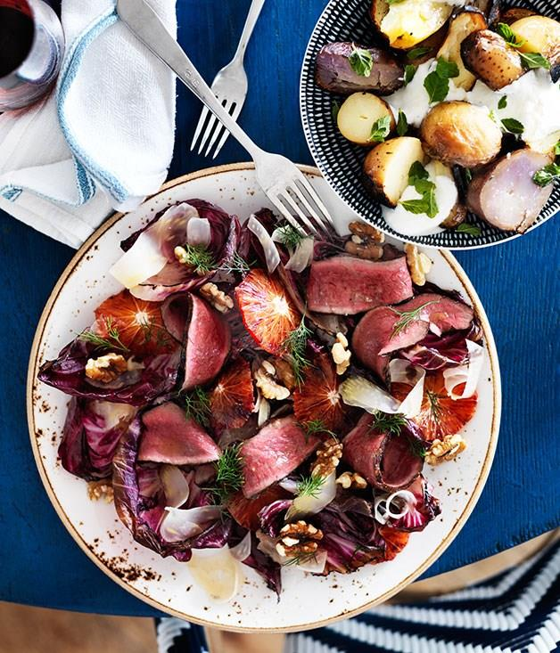 **Grilled beef heart with radicchio and orange**