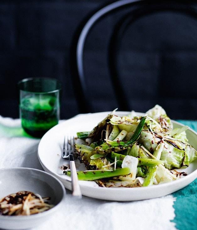 **Scorched iceberg lettuce and spring onion with black vinegar and ginger**