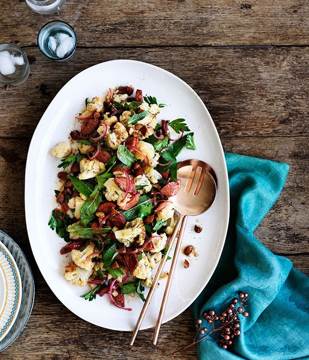 **Chorizo, roasted cauliflower and almond salad**