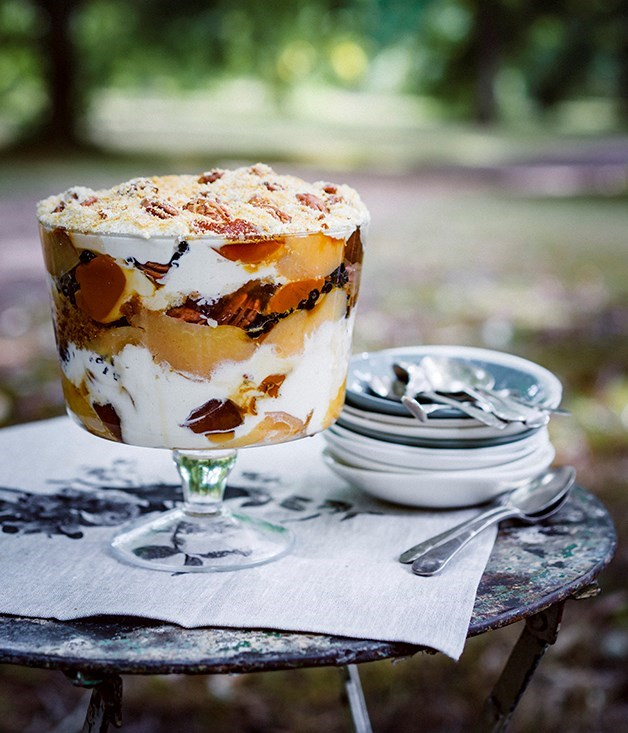 **Quince, pecan and creme caramel trifle with Gretchen's honey cream**