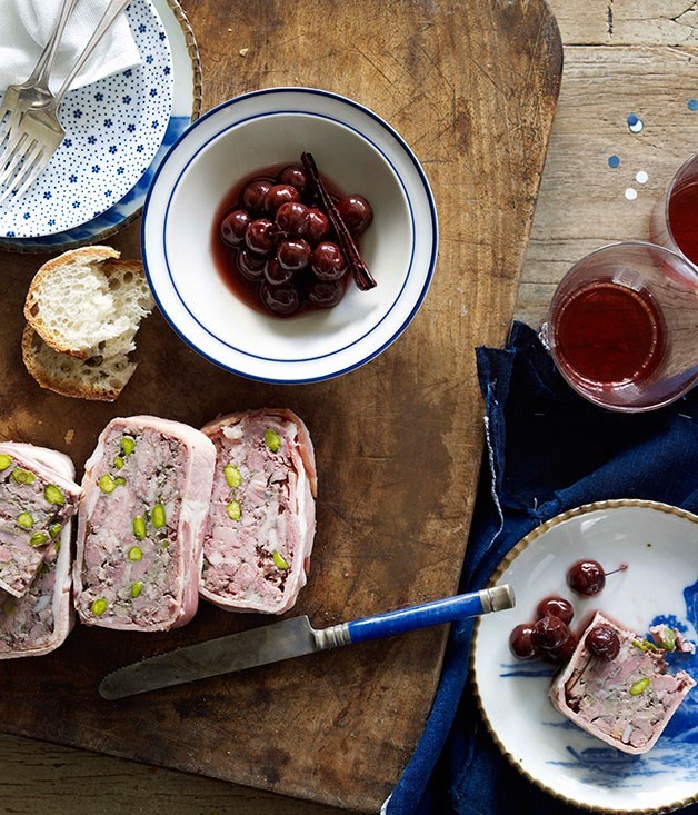**Duck and pork terrine with pickled cherries**