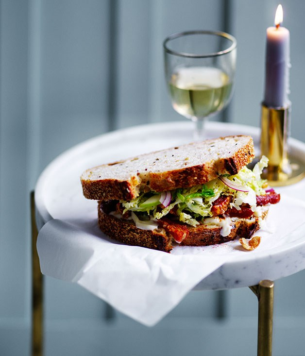 Pork scratchings sandwich with apple and cabbage slaw