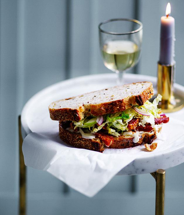 "**[Pork scratchings sandwich with apple and cabbage slaw](https://www.gourmettraveller.com.au/recipes/browse-all/pork-scratchings-sandwich-with-apple-and-cabbage-slaw-12586|target=""_blank"")**"