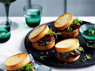 Grilled tongue sandwiches with charred onion and pickled beetroot
