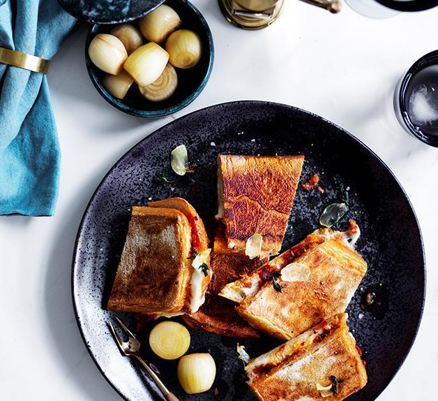 'Nduja and mozzarella ciabatta with garlic and thyme oil