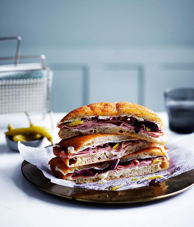 "**[Baked mortadella, provolone and mascarpone sandwiches](https://www.gourmettraveller.com.au/recipes/browse-all/baked-mortadella-provolone-and-mascarpone-sandwiches-12588|target=""_blank"")**"