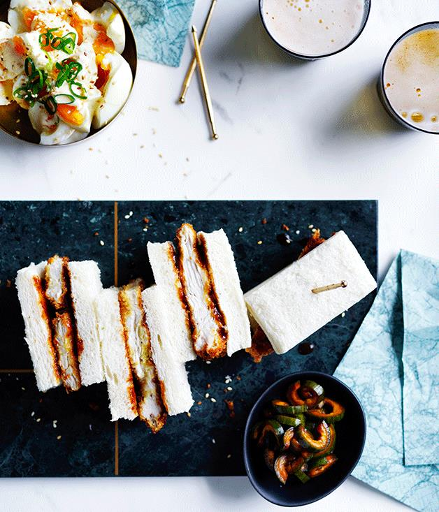 "**[Chicken katsu sando with egg salad](https://www.gourmettraveller.com.au/recipes/browse-all/chicken-katsu-sando-with-egg-salad-12590|target=""_blank"")**"