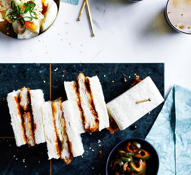 Chicken katsu sando with egg salad