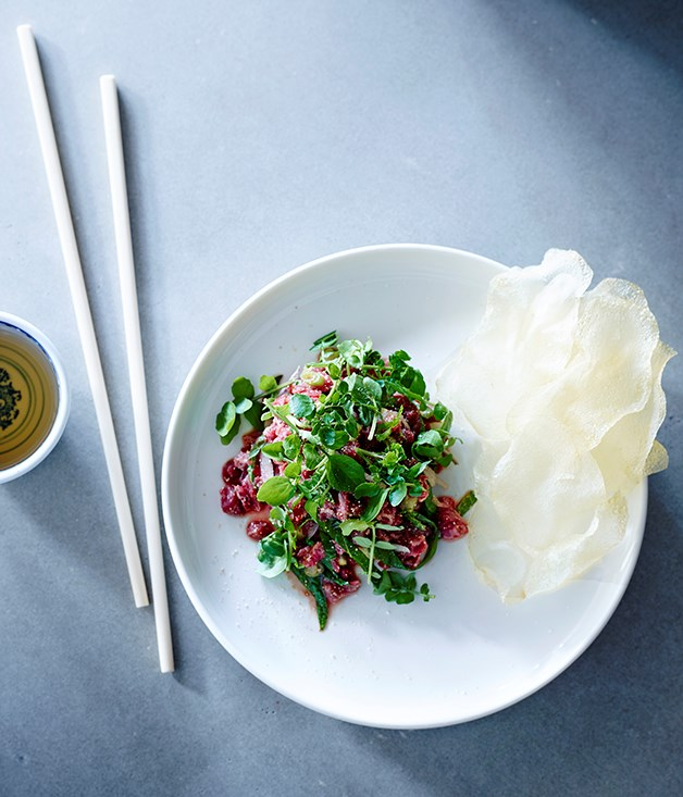 """[Thi Le's (Anchovy) beef tartare with herbs and nuoc cham recipe](http://www.gourmettraveller.com.au/recipes/chefs-recipes/beef-tartare-with-herbs-and-nuoc-cham-8464 target=""""_blank"""")"""
