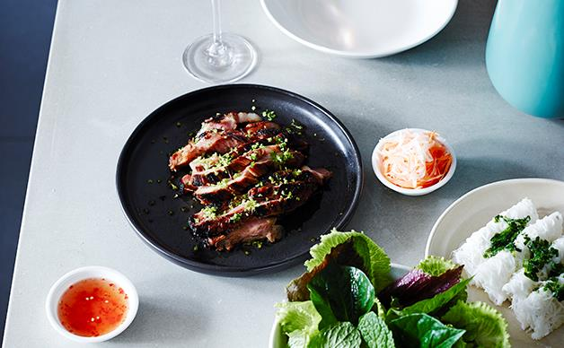 Pork neck with herbs and banh hoi noodles