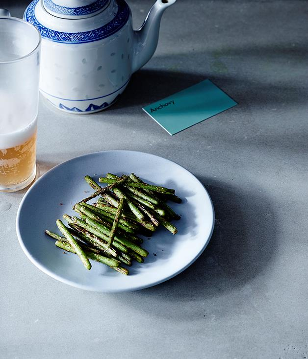 "[Thi Le's (Anchovy) garlic shoots with spice salt](http://www.gourmettraveller.com.au/recipes/chefs-recipes/garlic-shoots-with-spice-salt-8482|target=""_blank"")"