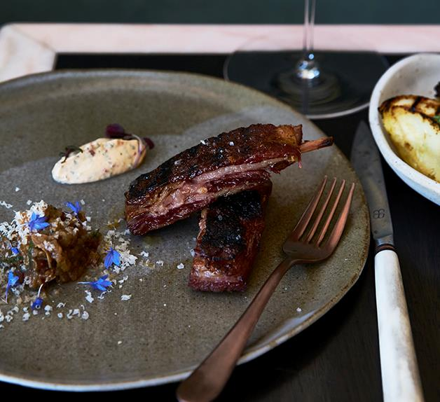 Barbecued lamb ribs with smoked eggplant and yoghurt sauce
