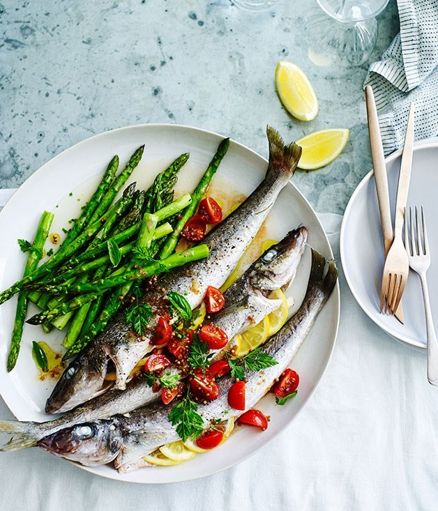 **Roast whiting with asparagus and sauce vierge**