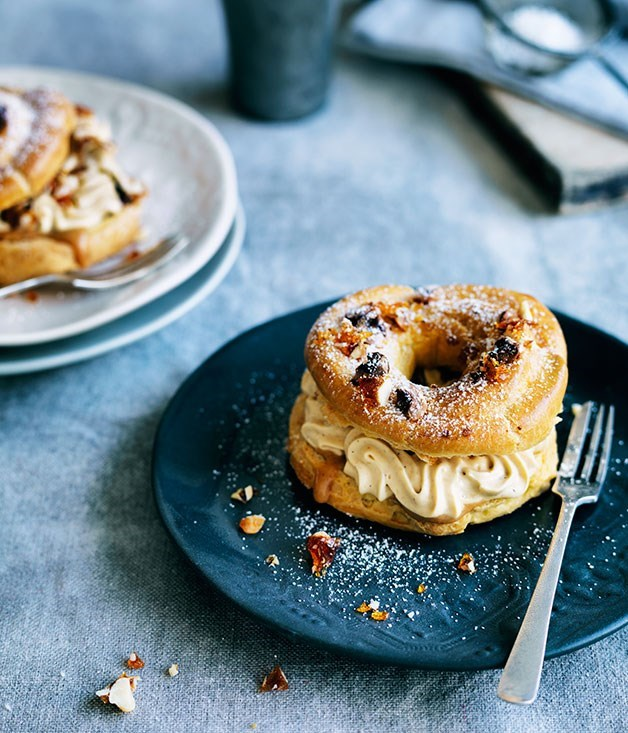 **Paris-Brest with hazelnut praline cream** Scatter extra praline inside this light-as-air choux pastry ring for a small and surprising crunch.