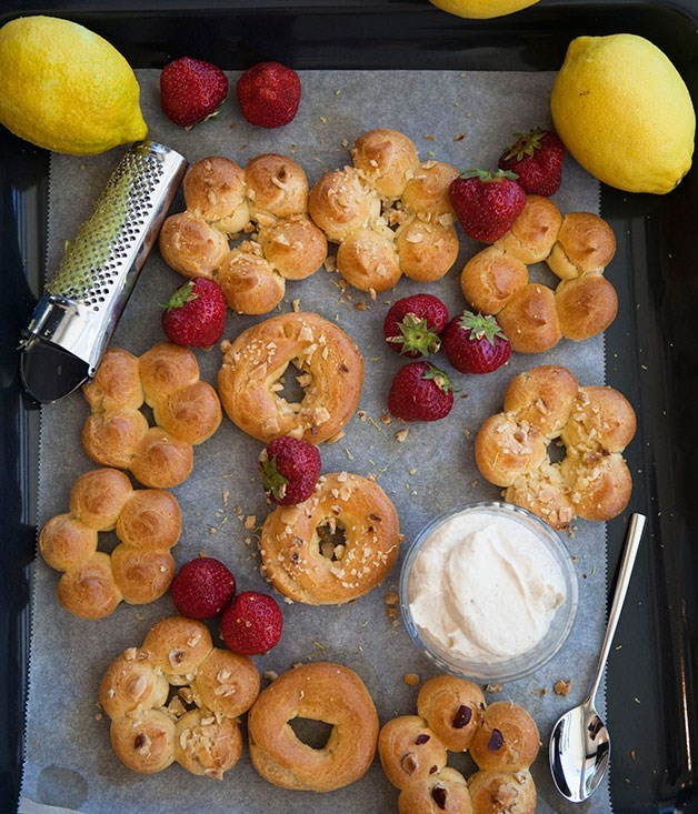 **Choux pastries with pistachio cream** Serve with strawberries and add a hint of grated lemon zest to the choux pastries for a fruity-citrus touch.